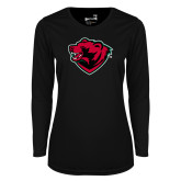 Ladies Syntrel Performance Black Longsleeve Shirt-Bear Head