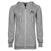 ENZA Ladies Grey/Black Marled Full Zip Hoodie-Wash U w/Bear