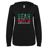 ENZA Ladies Black V Notch Raw Edge Fleece Hoodie-Bear Nation