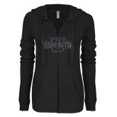 ENZA Ladies Black Light Weight Fleece Full Zip Hoodie-Washington U Graphite Soft Glitter