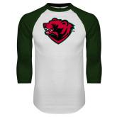 White/Dark Green Raglan Baseball T Shirt-Bear Head
