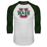 White/Dark Green Raglan Baseball T Shirt-WashU
