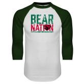 White/Dark Green Raglan Baseball T Shirt-Bear Nation