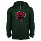 Dark Green Fleece Full Zip Hoodie-Bear Head