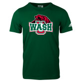 Adidas Dark Green Logo T Shirt-Wash U w/Bear