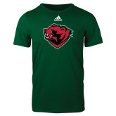 Adidas Dark Green Logo T Shirt-Bear Head