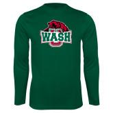 Performance Dark Green Longsleeve Shirt-Wash U w/Bear