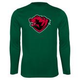 Performance Dark Green Longsleeve Shirt-Bear Head