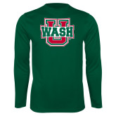 Performance Dark Green Longsleeve Shirt-WashU