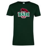Ladies Dark Green T Shirt-Wash U w/Bear