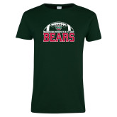 Ladies Dark Green T Shirt-Football Stacked