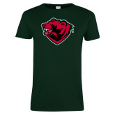 Ladies Dark Green T Shirt-Bear Head