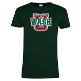 Ladies Dark Green T Shirt-WashU