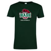 Ladies Dark Green T Shirt-Volleyball