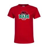 Youth Red T Shirt-Wash U w/Bear