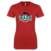 Next Level Ladies SoftStyle Junior Fitted Red Tee-Wash U w/Bear