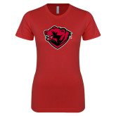 Next Level Ladies SoftStyle Junior Fitted Red Tee-Bear Head