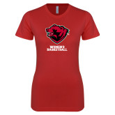 Next Level Ladies SoftStyle Junior Fitted Red Tee-Womens Basketball