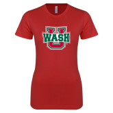 Next Level Ladies SoftStyle Junior Fitted Red Tee-Wash U