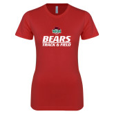 Next Level Ladies SoftStyle Junior Fitted Red Tee-Track and Field Text