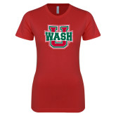 Next Level Ladies SoftStyle Junior Fitted Red Tee-WashU