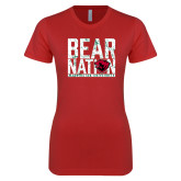 Next Level Ladies SoftStyle Junior Fitted Red Tee-Bear Nation