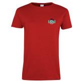 Ladies Red T Shirt-Wash U w/Bear