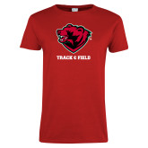 Ladies Red T Shirt-Track and Field