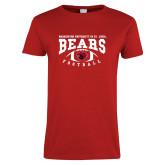 Ladies Red T Shirt-Football Design
