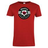 Ladies Red T Shirt-Womens Soccer Design