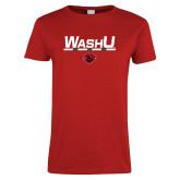 Ladies Red T Shirt-WashU Bar