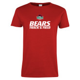 Ladies Red T Shirt-Track and Field Text