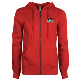 ENZA Ladies Red Fleece Full Zip Hoodie-Wash U w/Bear