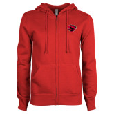 ENZA Ladies Red Fleece Full Zip Hoodie-Bear Head