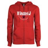 ENZA Ladies Red Fleece Full Zip Hoodie-Basketball Design