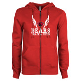 ENZA Ladies Red Fleece Full Zip Hoodie-Track and Field Design