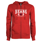 ENZA Ladies Red Fleece Full Zip Hoodie-Football Design