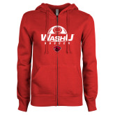 ENZA Ladies Red Fleece Full Zip Hoodie-Soccer Design