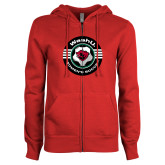 ENZA Ladies Red Fleece Full Zip Hoodie-Womens Soccer Design