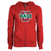 ENZA Ladies Red Fleece Full Zip Hoodie-Wash U