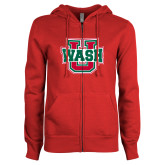 ENZA Ladies Red Fleece Full Zip Hoodie-WashU