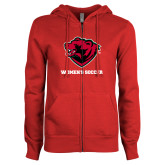 ENZA Ladies Red Fleece Full Zip Hoodie-Womens Soccer