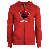 ENZA Ladies Red Fleece Full Zip Hoodie-Mens Basketball