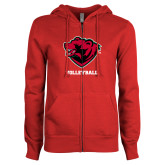 ENZA Ladies Red Fleece Full Zip Hoodie-Volleyball
