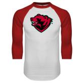 White/Red Raglan Baseball T Shirt-Bear Head
