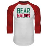 White/Red Raglan Baseball T Shirt-Bear Nation