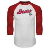 White/Red Raglan Baseball T Shirt-Bears Script