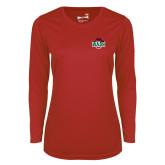 Ladies Syntrel Performance Red Longsleeve Shirt-Wash U w/Bear