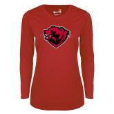 Ladies Syntrel Performance Red Longsleeve Shirt-Bear Head