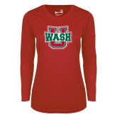 Ladies Syntrel Performance Red Longsleeve Shirt-Wash U